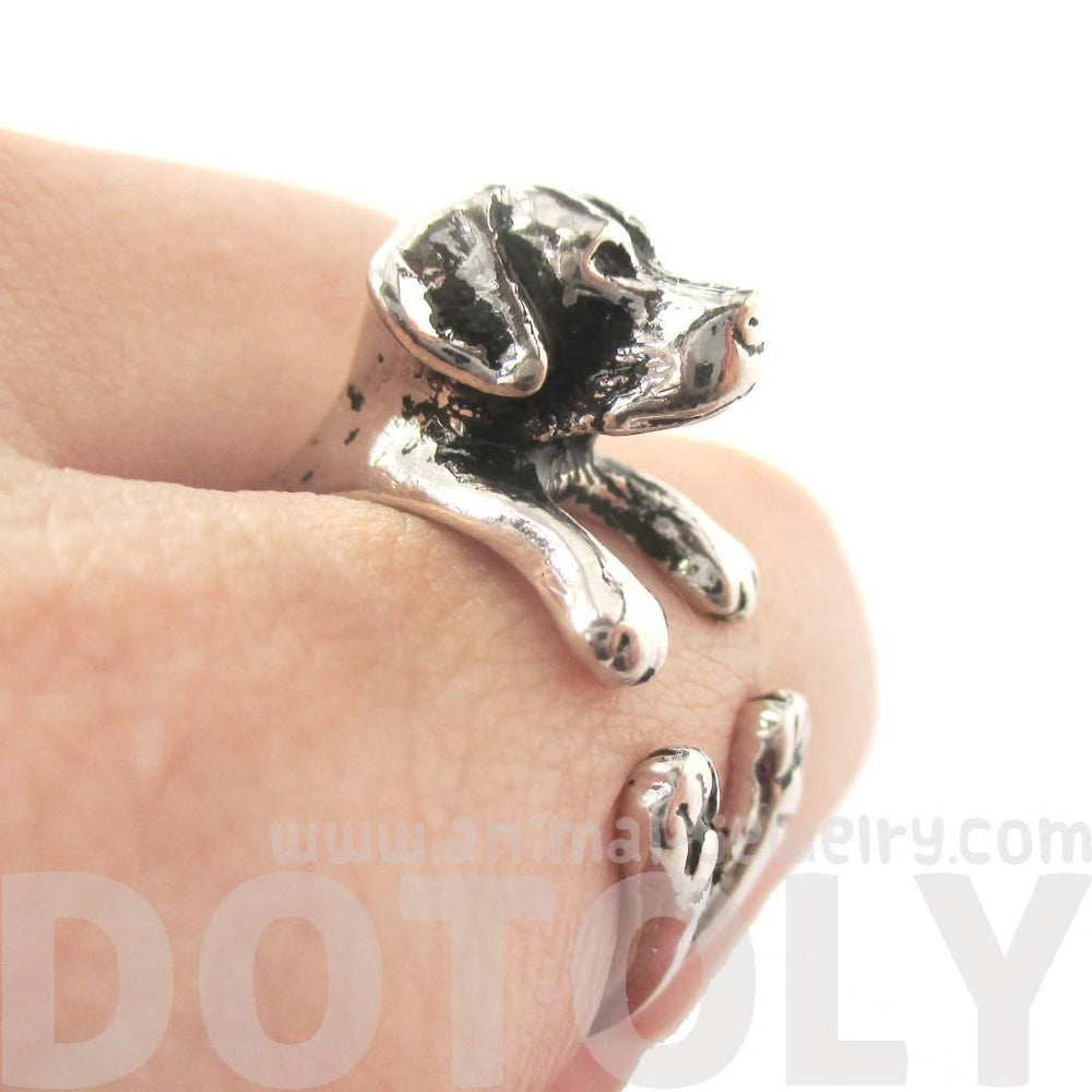 Labrador Retriever Shaped Animal Ring in Shiny Silver