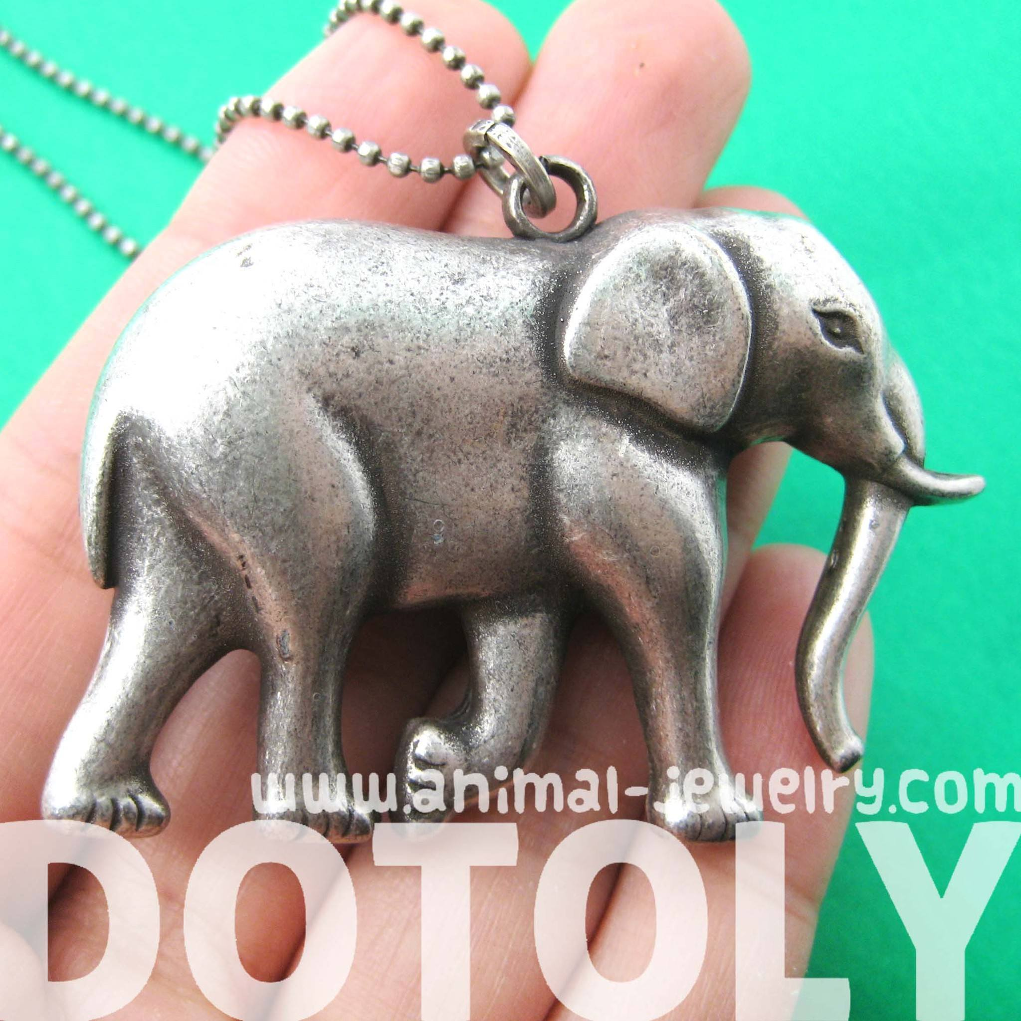 3D Large Elephant Animal Pendant Necklace in Silver | DOTOLY