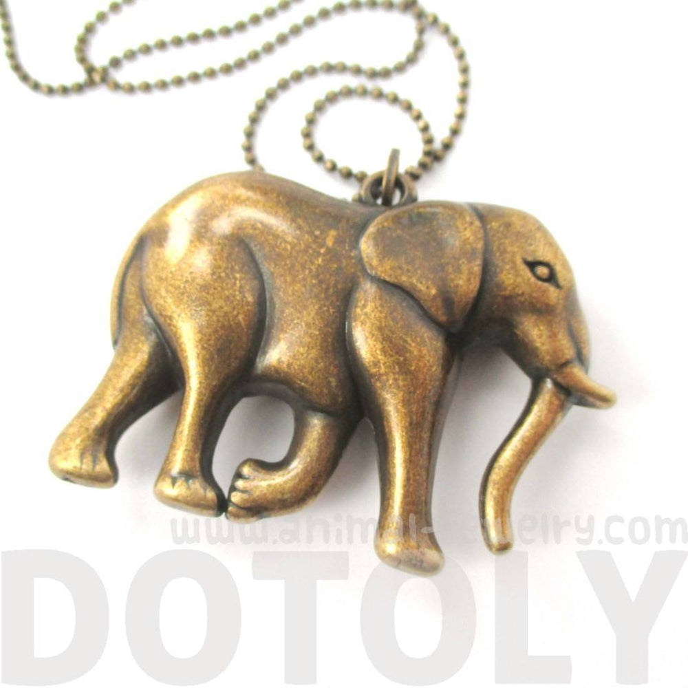 3D Large Elephant Shaped Animal Pendant Necklace in Brass | DOTOLY