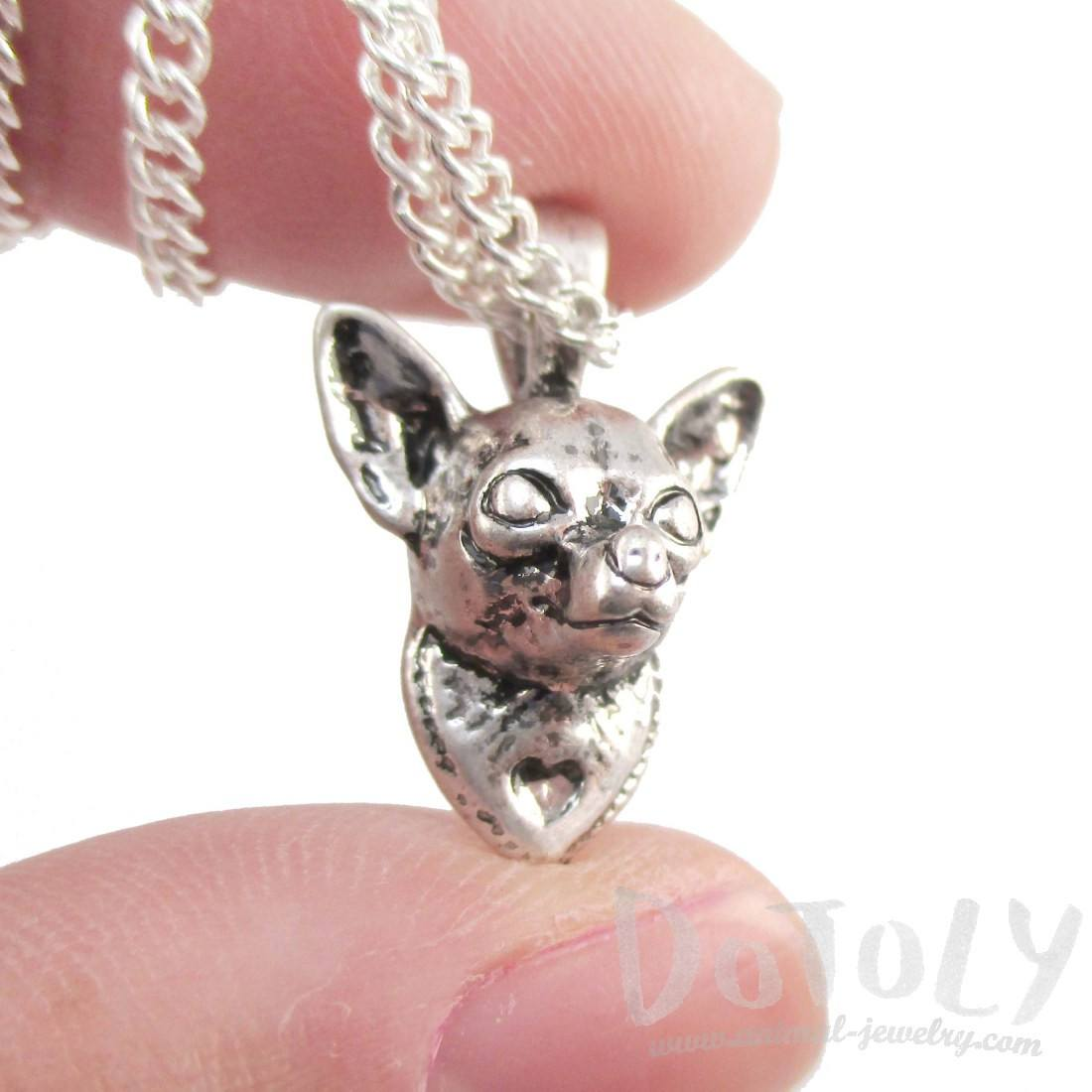 3D Lifelike Chihuahua Puppy Face Shaped Charm Necklace
