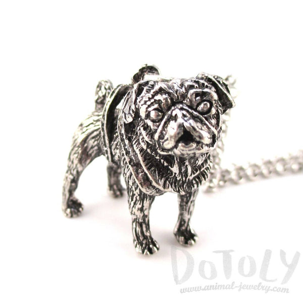 3D Lifelike Pug Puppy Shaped Animal Pendant Necklace