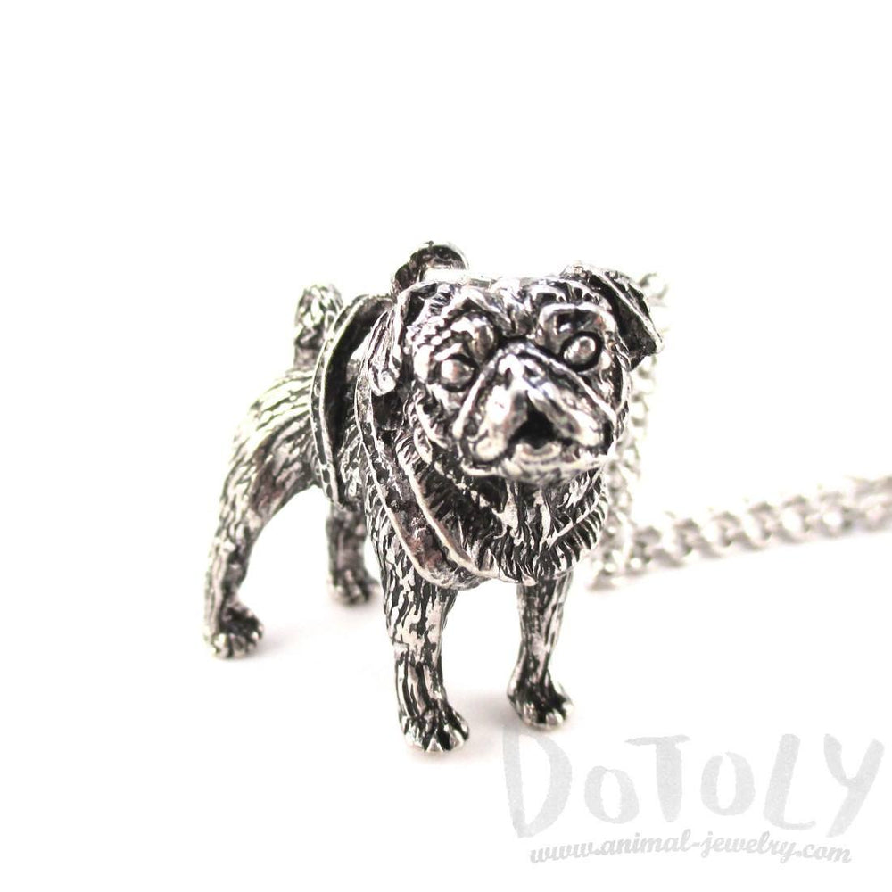 3D Lifelike Pug Shaped Animal Pendant Necklace | Jewelry for Dog Lovers | DOTOLY