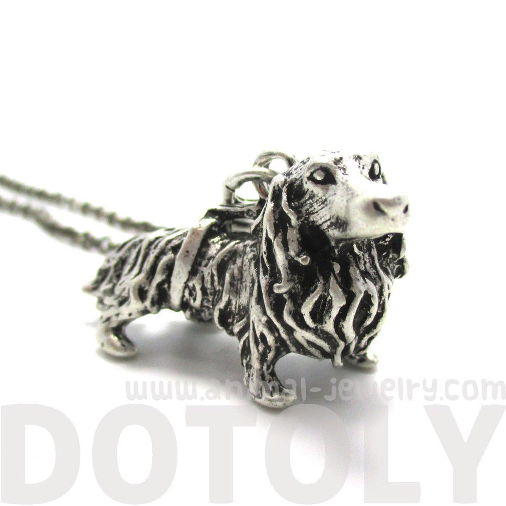 3D Longhaired Dachshund Shaped Animal Pendant Necklace