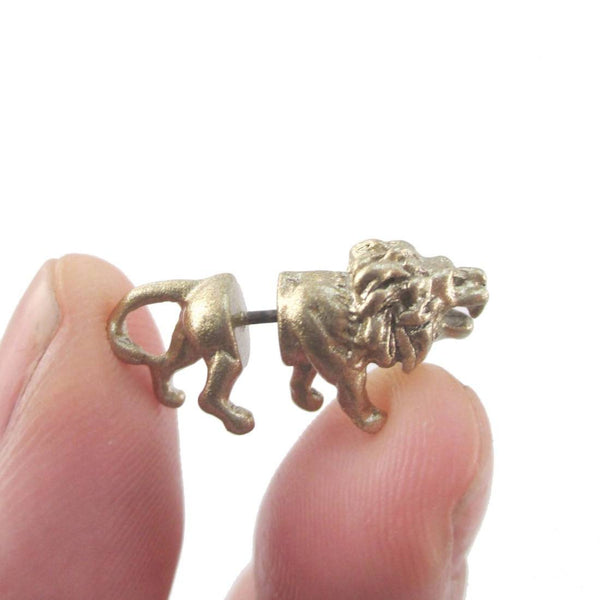3D Miniature Lion Shaped Front and Back Earrings in Gold | DOTOLY