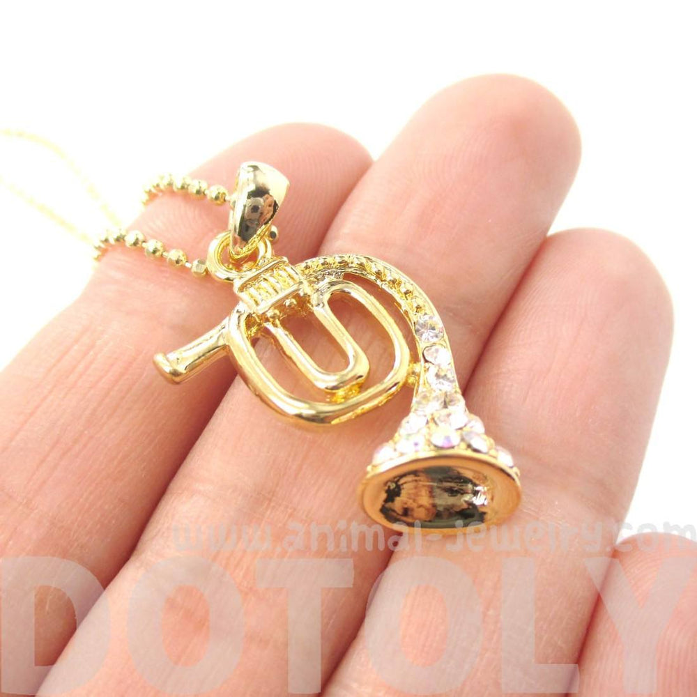 3D French Horn Shaped Music Pendant Necklace in Gold