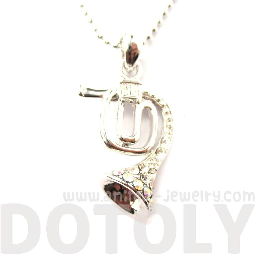 3D Miniature Musical Instrument French Horn Shaped Pendant Necklace in Silver | DOTOLY