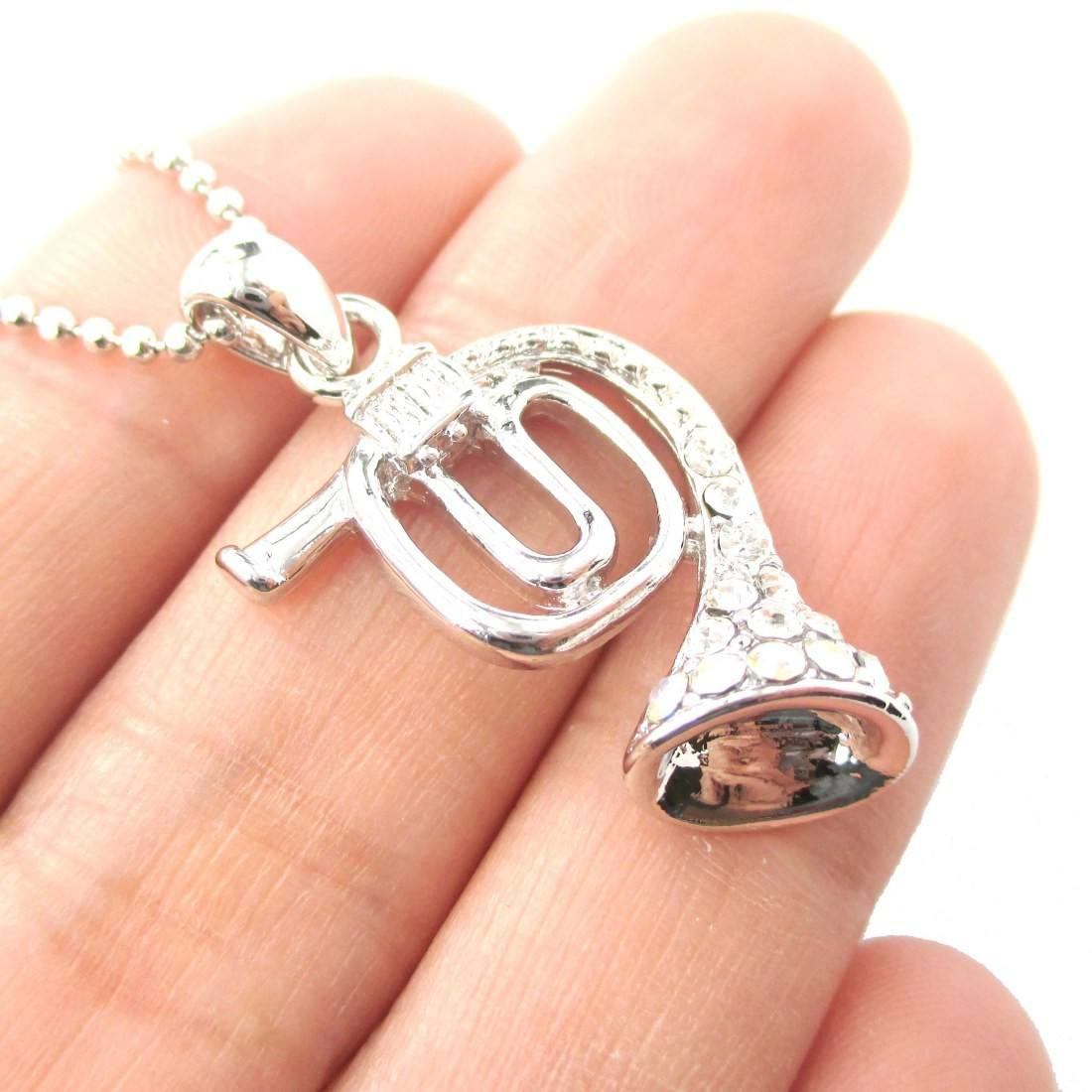 3D French Horn Shaped Music Pendant Necklace in Silver