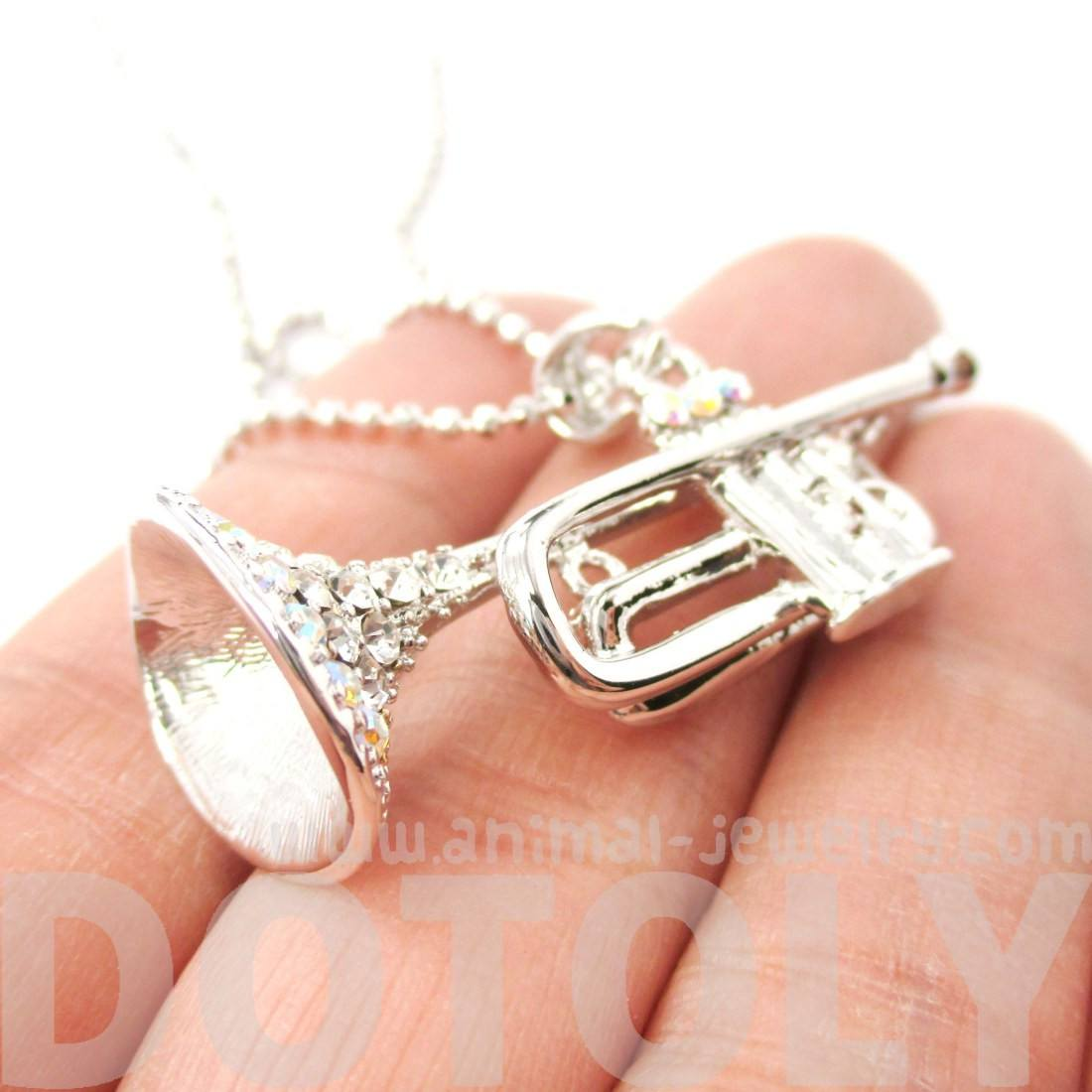 Trumpet Musical Instrument Pendant Necklace in Silver