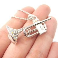 3D Miniature Musical Instrument Trumpet Shaped Pendant Necklace in Silver | DOTOLY