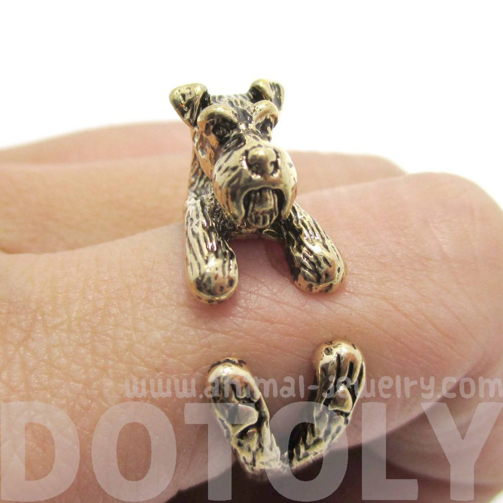 3D Schnauzer Dog Shaped Animal Wrap Ring in Shiny Gold