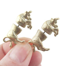 3D Taurus Bull Shaped Front and Back Stud Earrings in Glittery Gold
