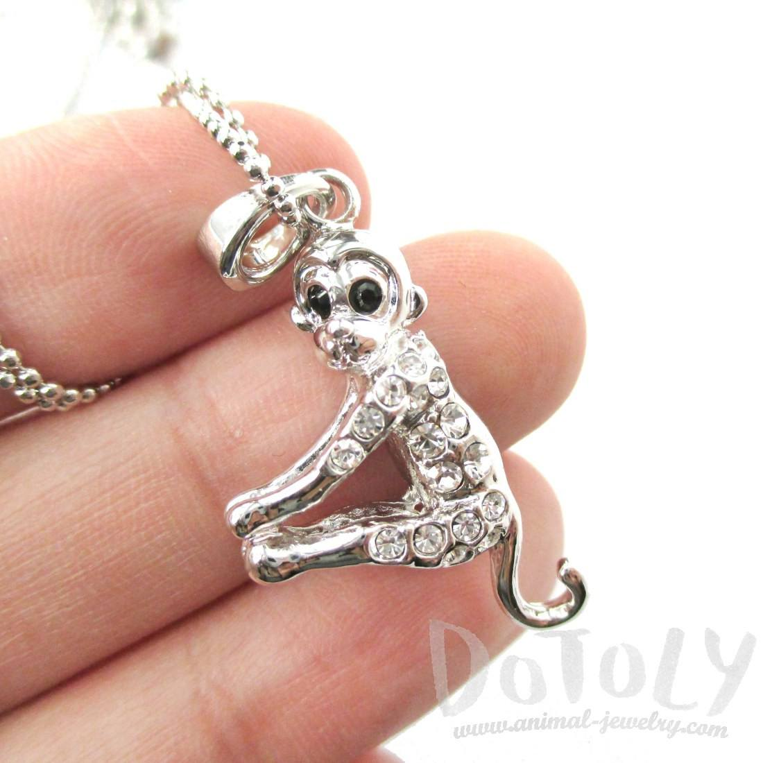 3D Monkey Shaped Rhinestone Pendant Necklace in Silver
