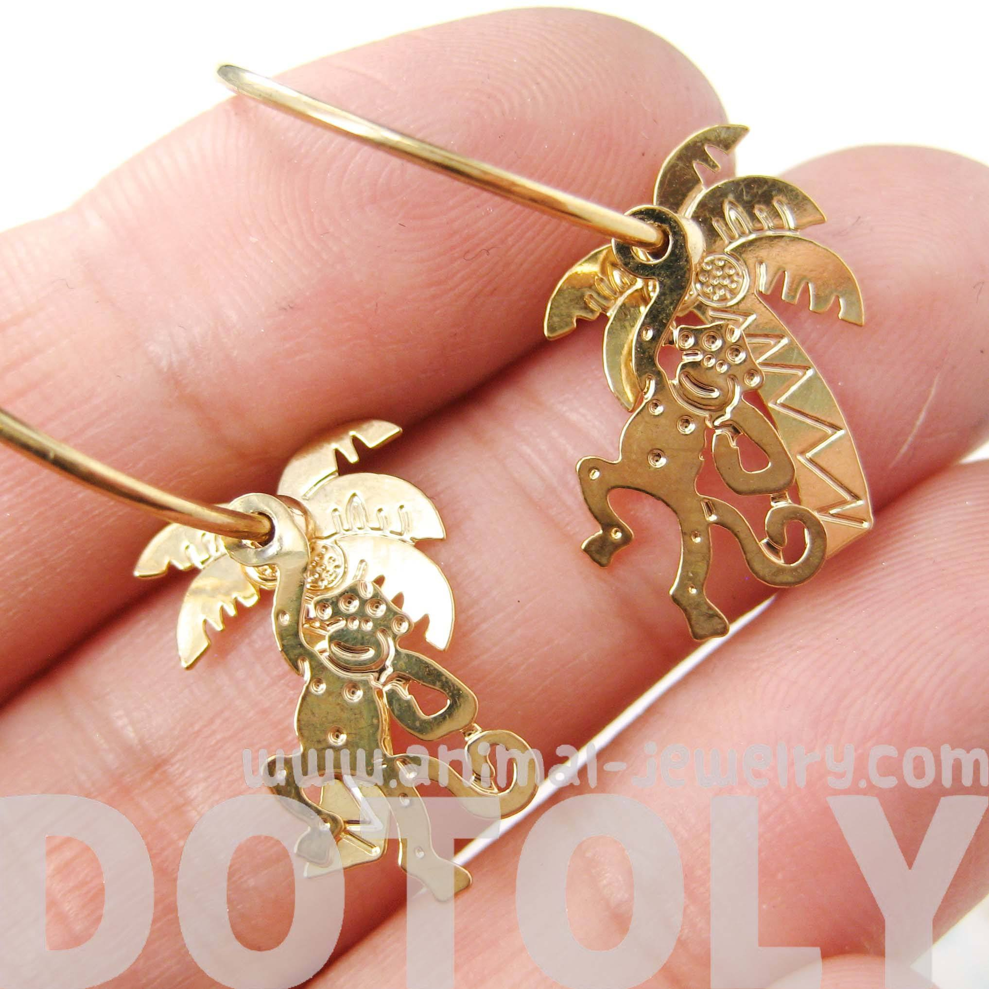 3D Monkey Swinging From A Palm Tree Dangle Hoop Earrings in Gold