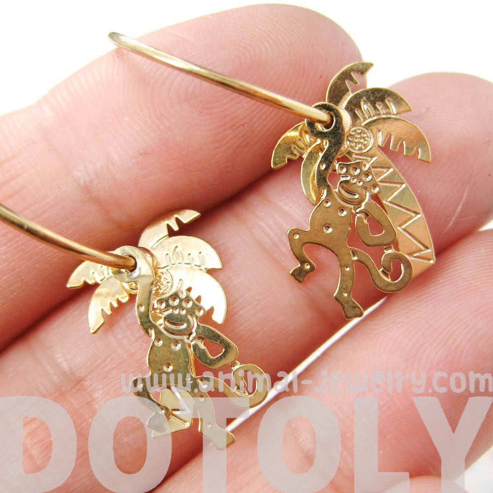 3D Monkey Swinging From A Palm Tree Dangle Hoop Earrings in Gold | Animal Jewelry | DOTOLY