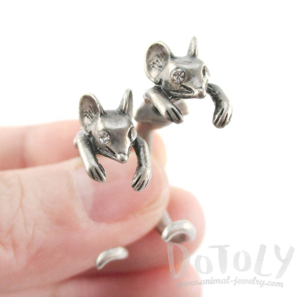 Mouse Shaped Front and Back Two Part Earrings in Silver