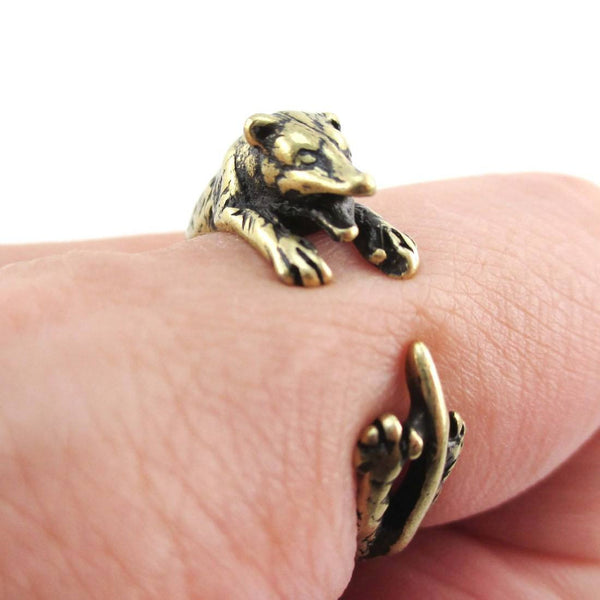 3D Opossum Possum Wrapped Around Your Finger Shaped Ring in Brass