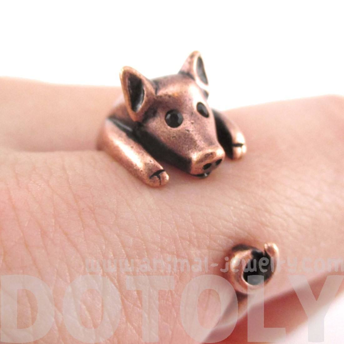 3D Pig Piglet Shaped Animal Wrap Around Ring in Copper