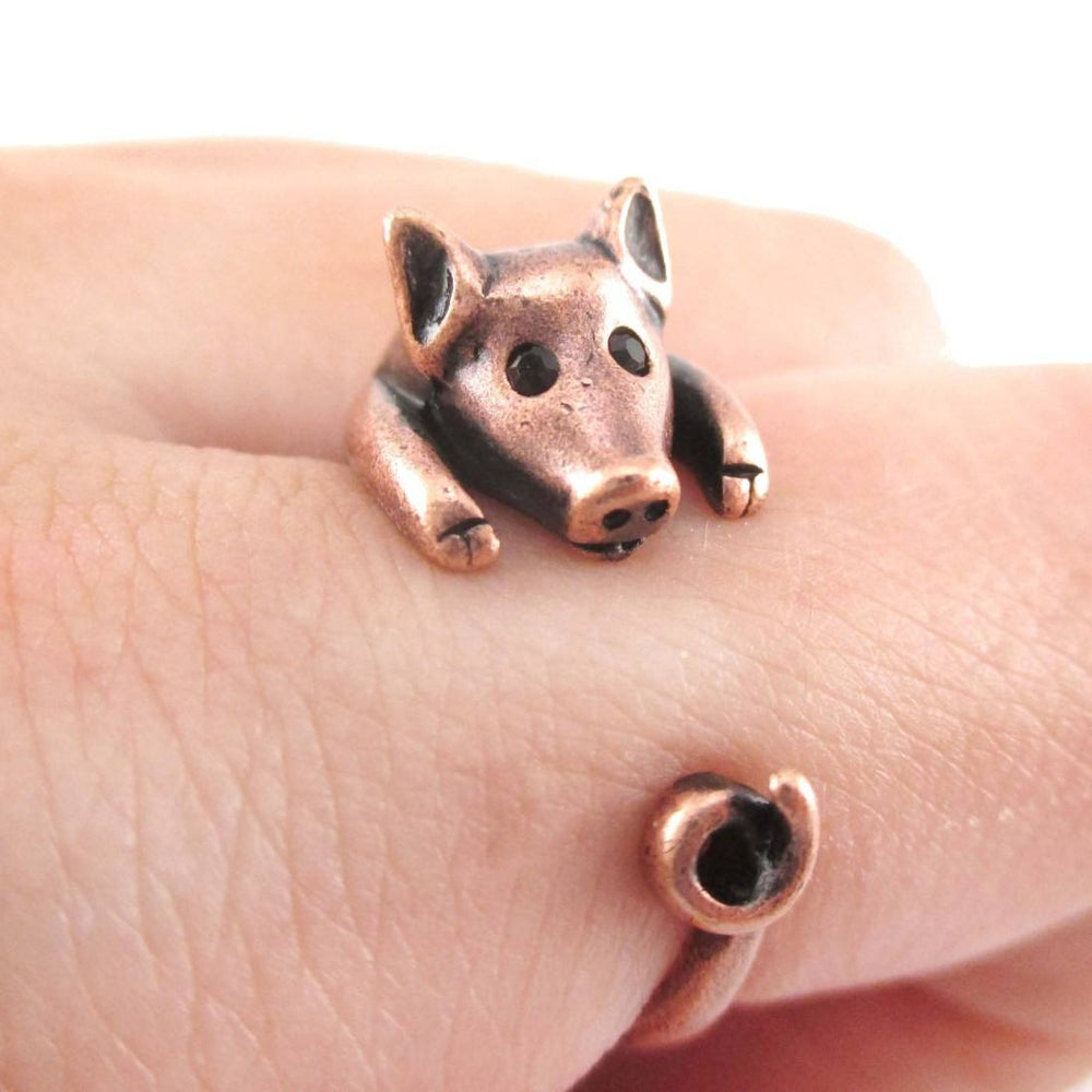 3D Pig Piglet Animal Wrap Around Ring in Copper | US Sizes 4 to 8.5 | DOTOLY