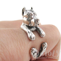 Pit Bull Dog Shaped Animal Wrap Ring in Sterling Silver
