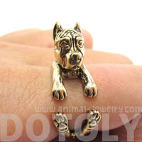 3D Pit Bull With Cropped Ears Shaped Animal Wrap Ring in Shiny Gold | Sizes 5 to 9 | DOTOLY