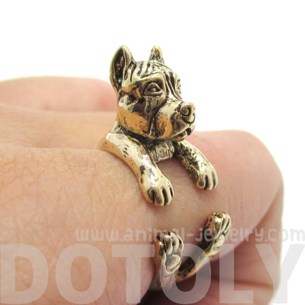 Pit Bull With Cropped Ears Animal Ring in Shiny Gold
