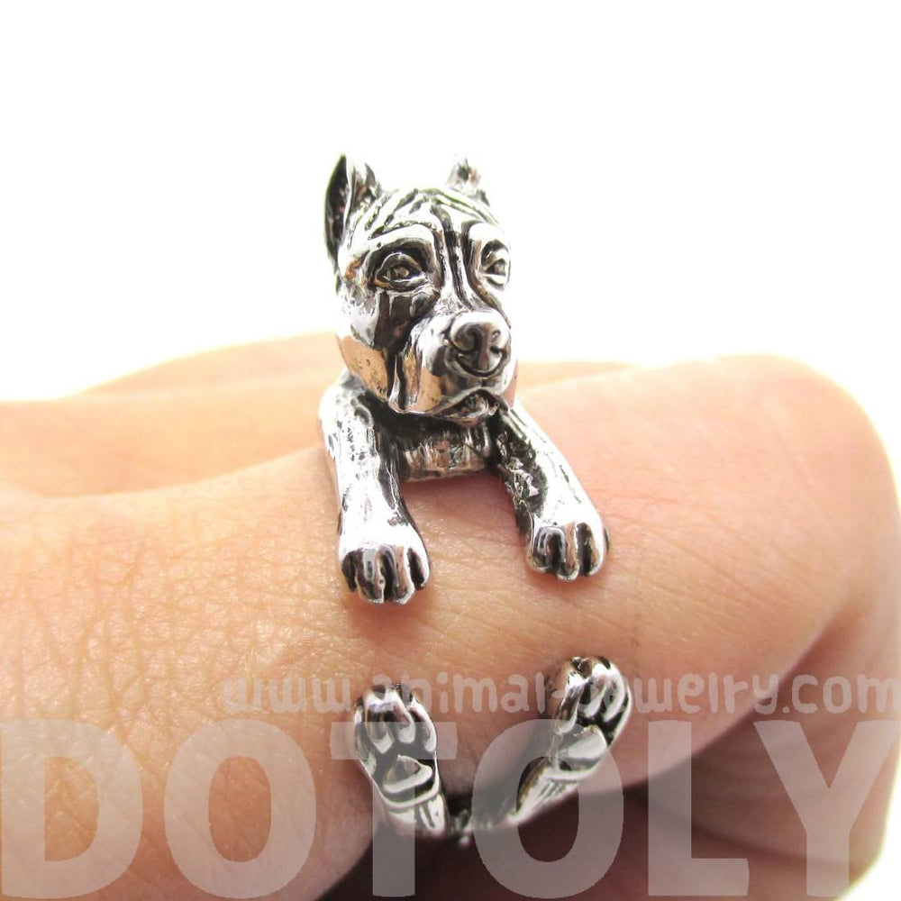 Pit Bull With Cropped Ears Animal Ring in Shiny Silver