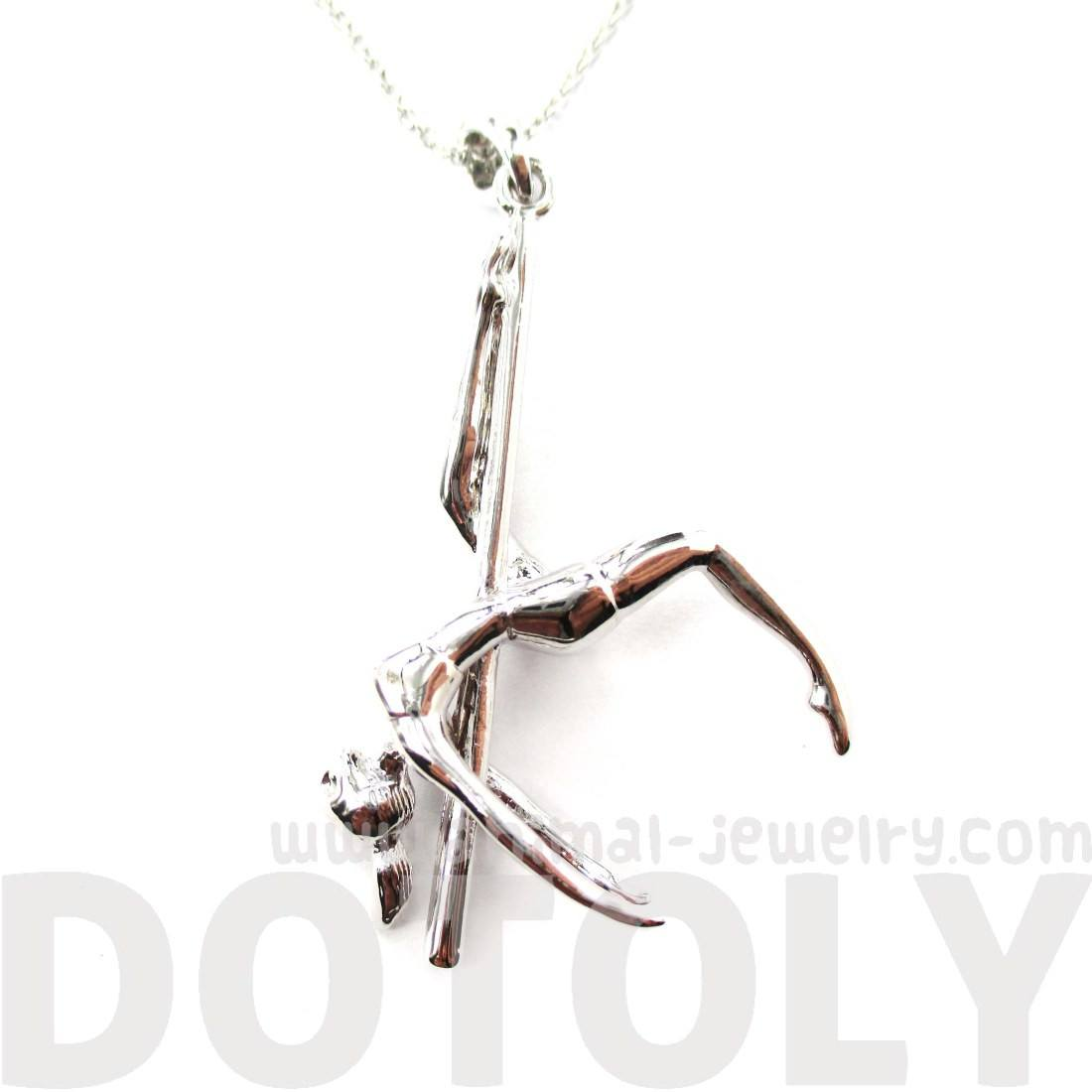 Aerial Pole Dancer Leg Hang Pendant Necklace in Silver