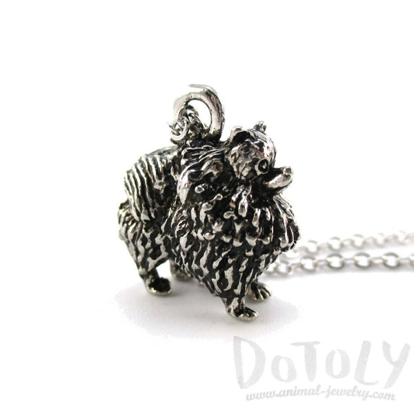Pomeranian Pom Puppy Dog Shaped Animal Pendant Necklace