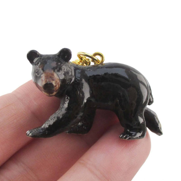 3D Porcelain Black Bear Shaped Ceramic Pendant Necklace | DOTOLY
