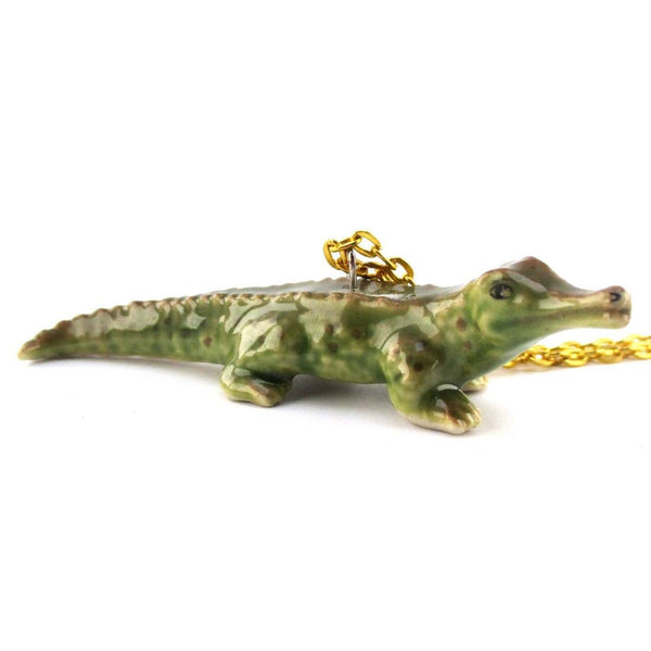 3D Porcelain Crocodile Shaped Ceramic Pendant Necklace | DOTOLY