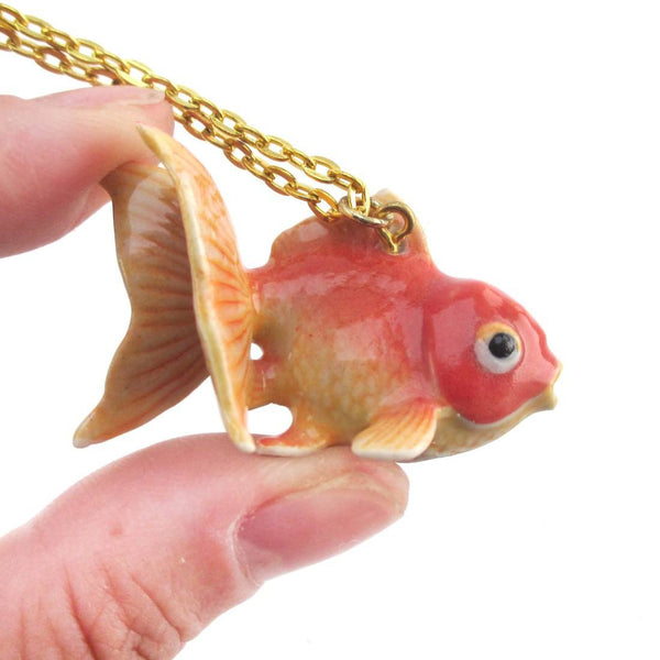 3D Porcelain Goldfish Shaped Ceramic Pendant Necklace | Animal Jewelry