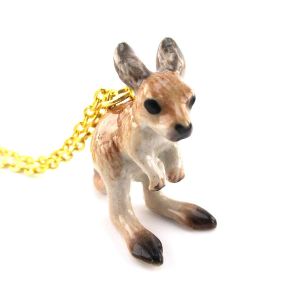 3D Porcelain Kangaroo Joey Shaped Ceramic Pendant Necklace | DOTOLY