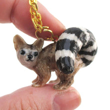 3D Porcelain Ring-tailed Cat Shaped Ceramic Pendant Necklace | DOTOLY