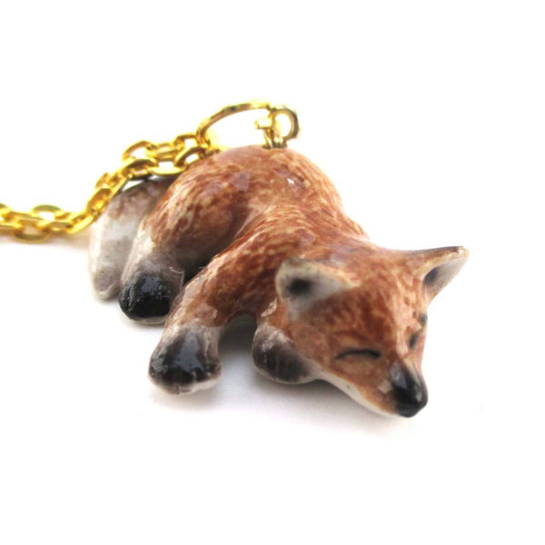 3D Porcelain Sleeping Red Fox Shaped Ceramic Pendant Necklace | DOTOLY