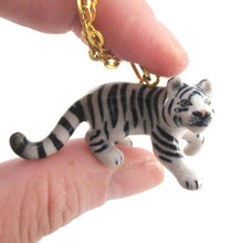 3D Porcelain Snow White Tiger Shaped Ceramic Pendant Necklace | DOTOLY