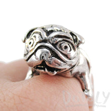 Pug Puppy Dog Shaped Adjustable Animal Ring in Silver