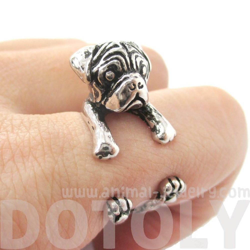 3D Pug Puppy Dog Shaped Animal Ring in Shiny Silver