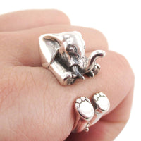 3D Realistic Baby Elephant Animal Wrap Around Ring in 925 Sterling Silver | DOTOLY