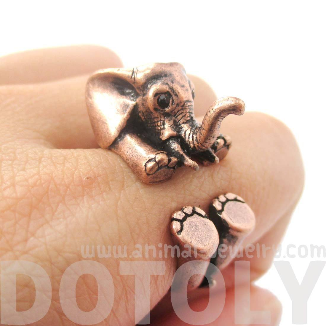 3D Realistic Baby Elephant Wrap Around Ring in Copper | Animal Jewelry