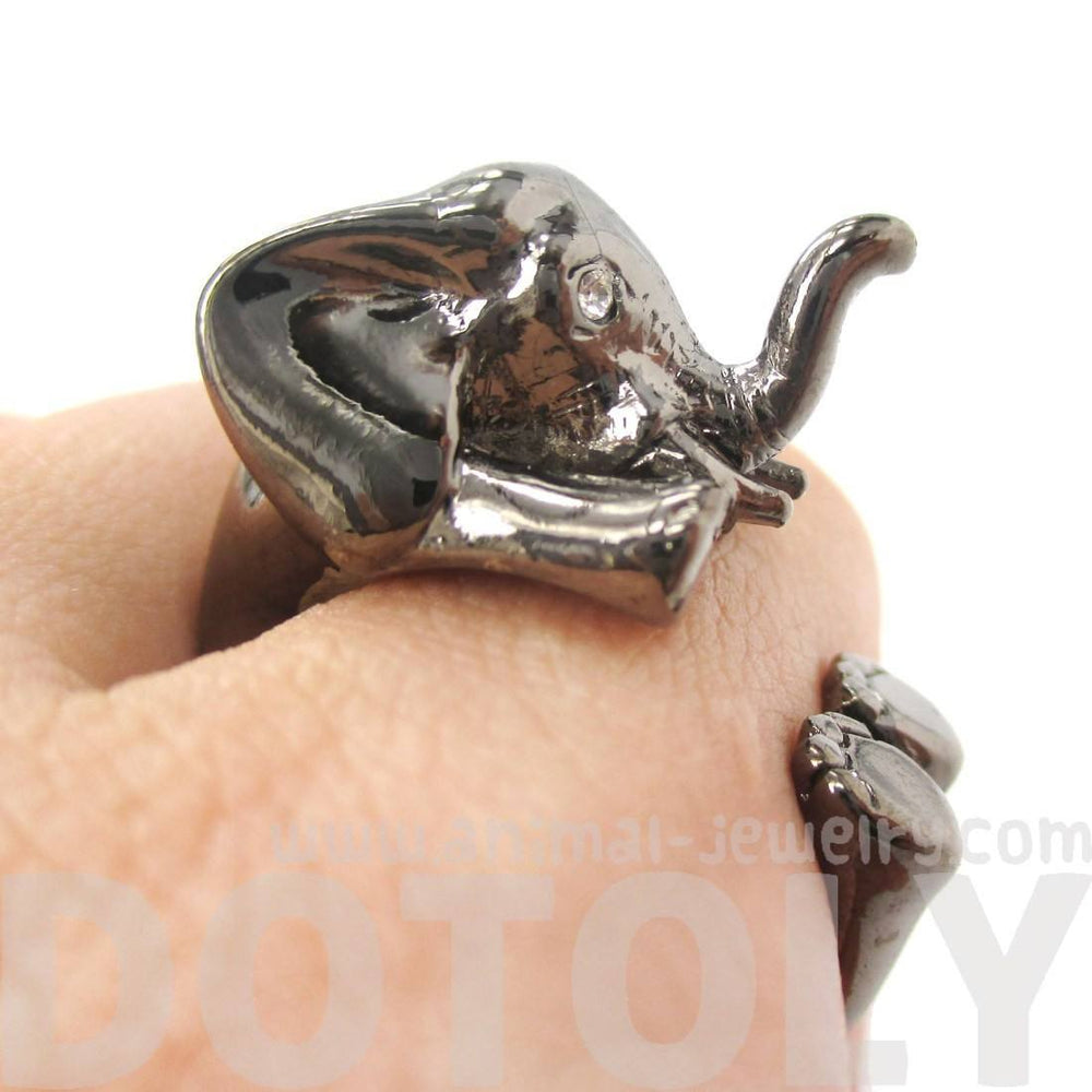 3D Realistic Baby Elephant Animal Wrap Around Ring in Gunmetal Silver