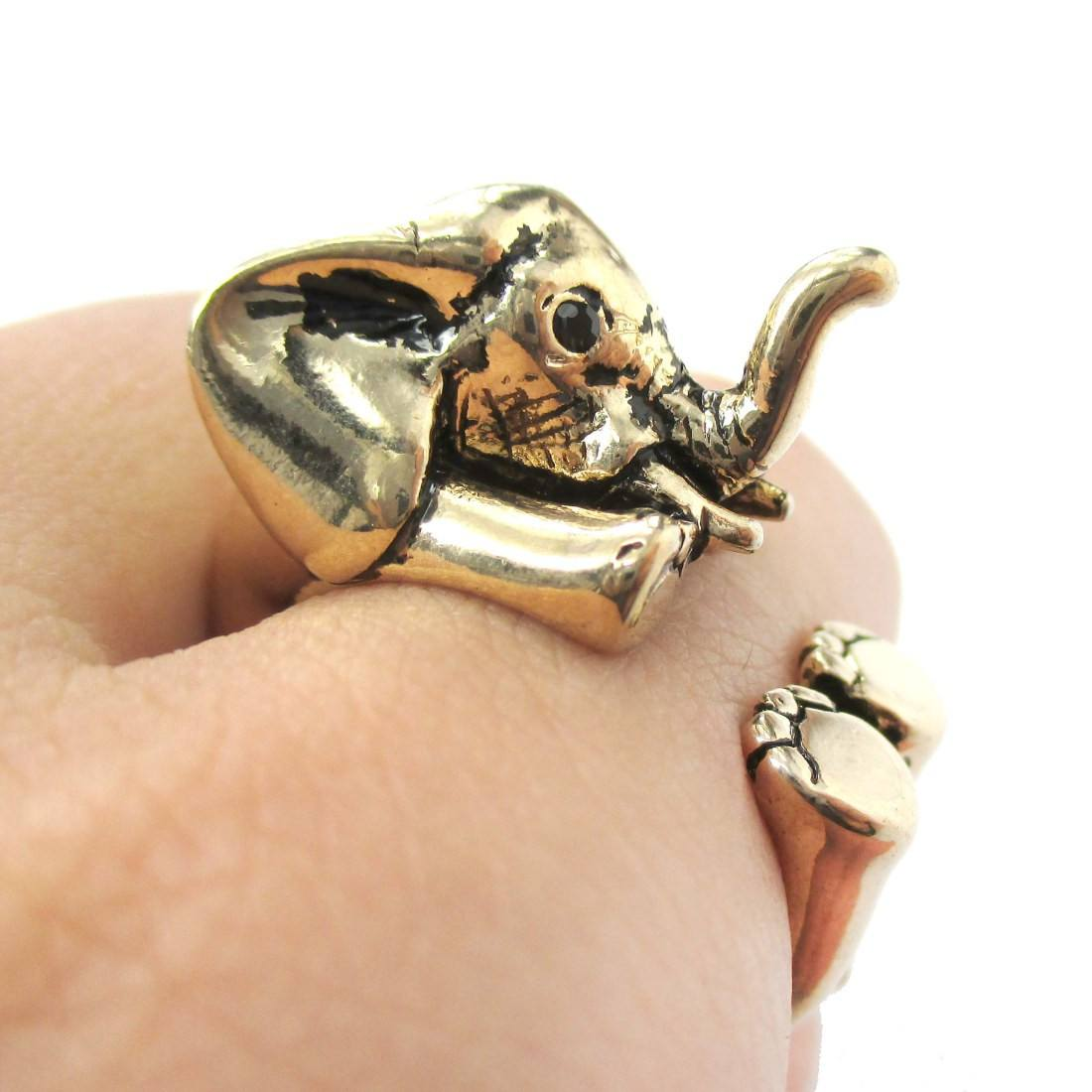 3D Realistic Baby Elephant Animal Wrap Around Ring in Shiny Gold