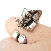 3D Realistic Baby Elephant Animal Wrap Around Ring in Shiny Silver