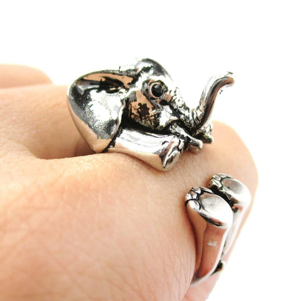 3D Realistic Baby Elephant Animal Wrap Around Ring in Shiny Silver | US Sizes 5 to 8.5 | DOTOLY