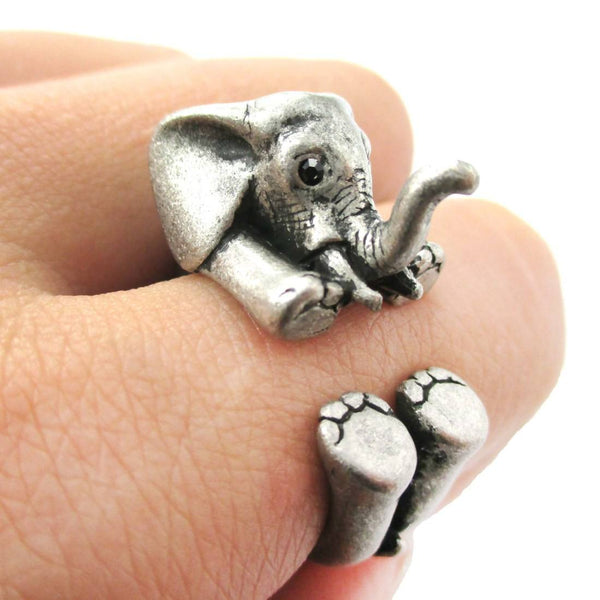 3D Realistic Baby Elephant Animal Wrap Around Ring in Silver | US Sizes 5 to 8.5 | DOTOLY