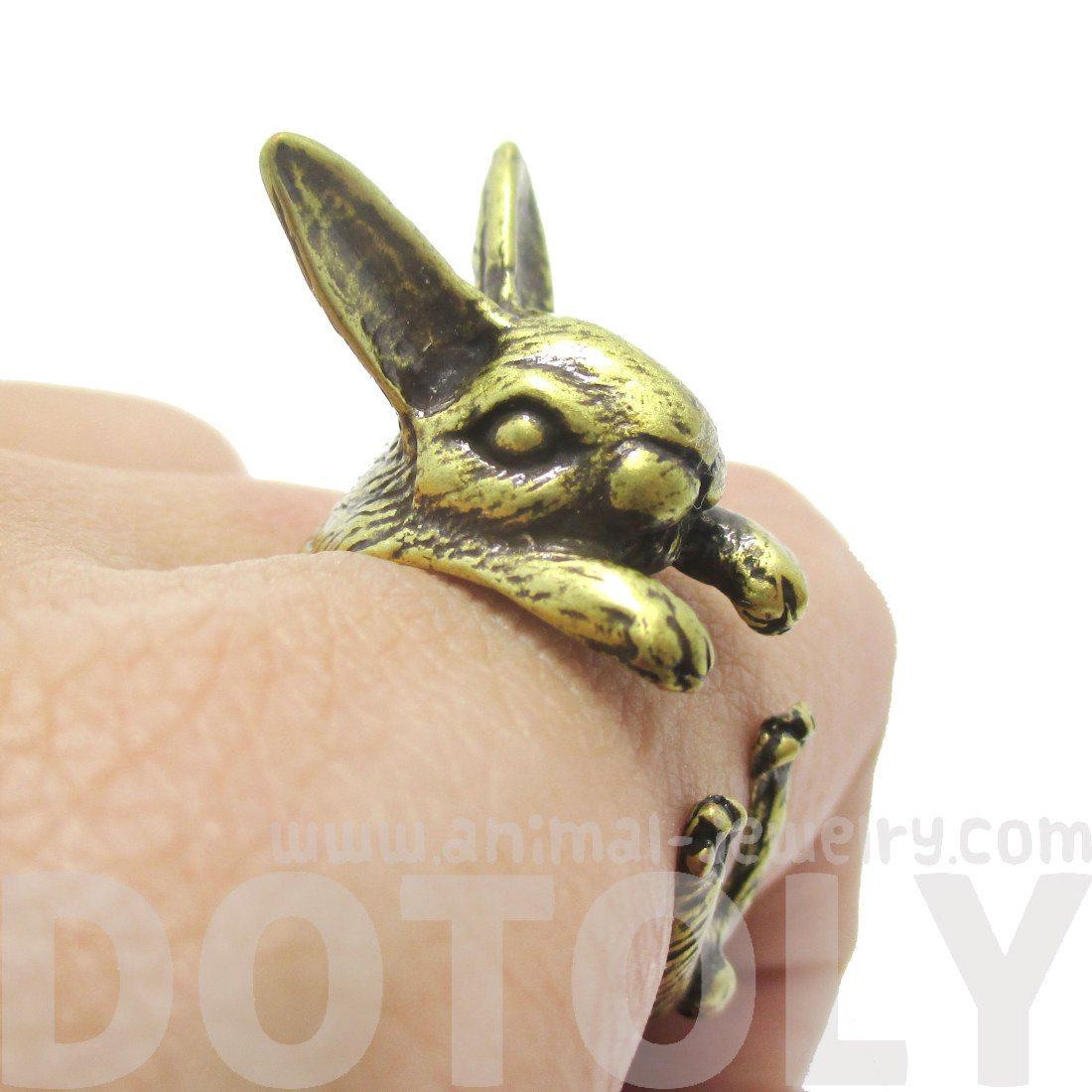 3D Bunny Rabbit Hare Shaped Animal Wrap Ring in Brass