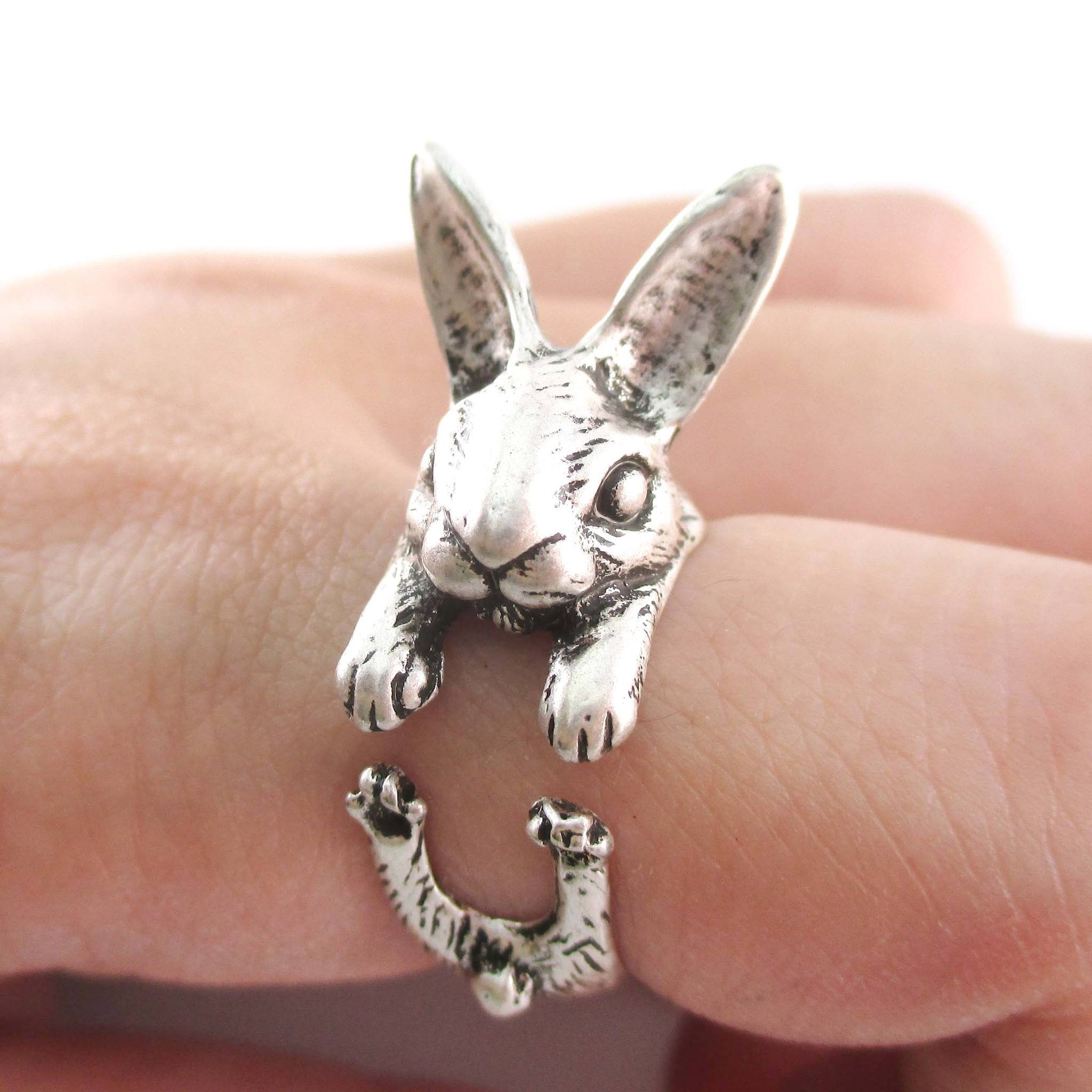 3D Bunny Rabbit Hare Shaped Animal Wrap Ring in Silver