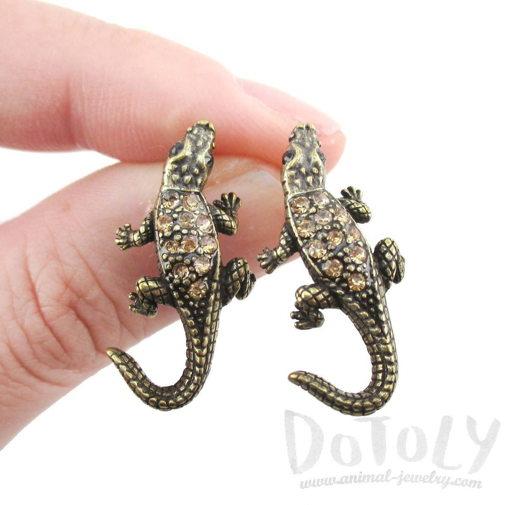 3D Realistic Crocodile Alligator Shaped Stud Earrings in Brass with Rhinestones | DOTOLY