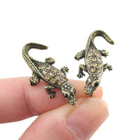 3D Realistic Crocodile Shaped Stud Earrings in Brass