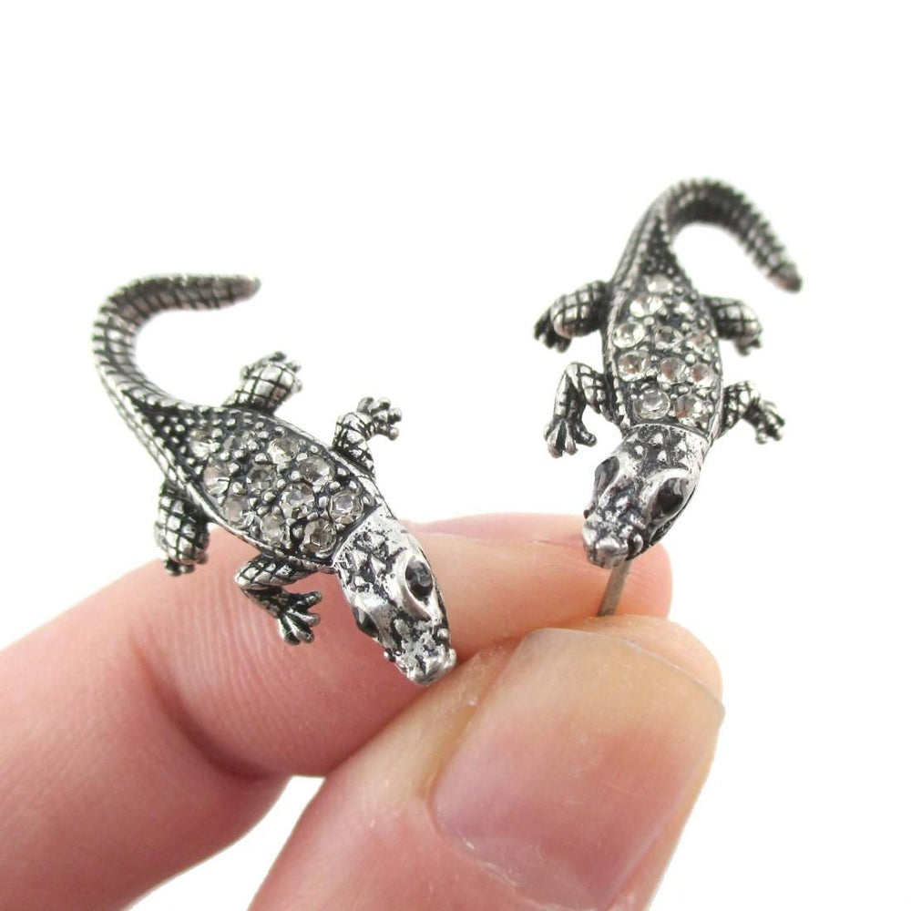3D Realistic Crocodile Alligator Shaped Stud Earrings in Silver with Rhinestones | DOTOLY