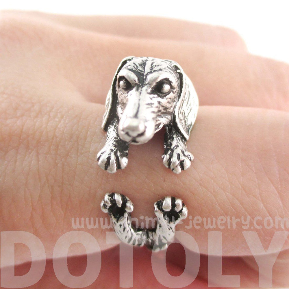 3D Realistic Dachshund Puppy Sausage Dog Shaped Animal Wrap Ring in Silver | US Sizes 5 to 8 | DOTOLY